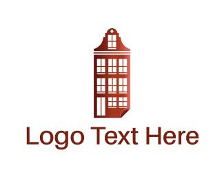 Real Estate - Red Building logo design