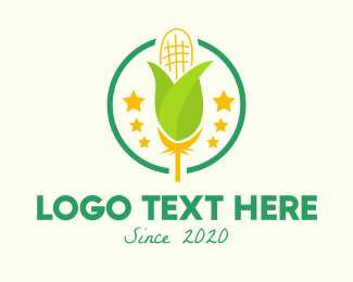 Harvesting - Organic Corn Farm logo design