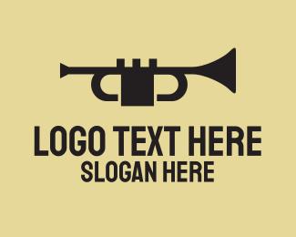 Classical Music - Black Music Trumpet logo design