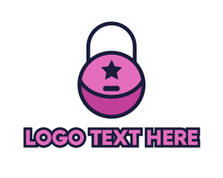 Purse - Pink Lock Purse logo design