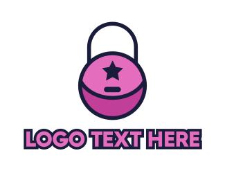 Purse - Pink Lock Purse logo design