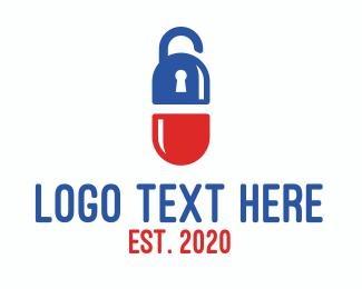 Unlocked - Medical Pill Lock logo design