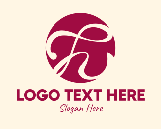 Delicacy - Burgundy Cursive Letter H  logo design