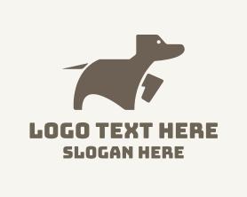 Puppy - Brown Minimalist Dog logo design