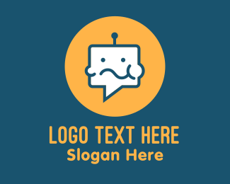 Social Media - Eating Chat Robot logo design