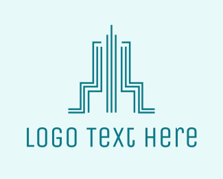 Skyscraper - Blue Tower Outline logo design