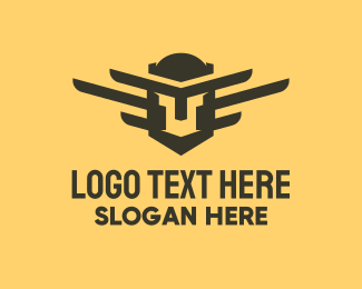 Brown And Yellow - Winged Spartan Helmet logo design