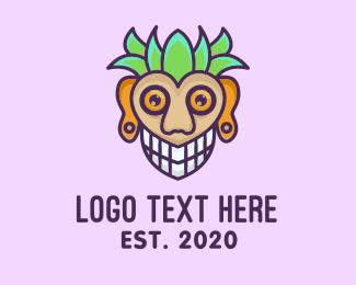 Trick Or Treat - Tiki Polynesian Mask logo design