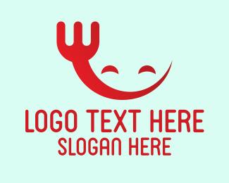 Eating - Happy Red Fork logo design