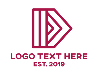Forward - Pink D Arrow Outline logo design