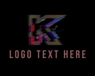 Clan - Gradient Glitch Letter K logo design