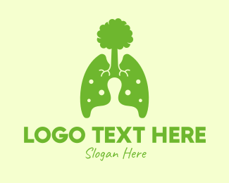 Forestry - Green Eco Lungs Tree logo design