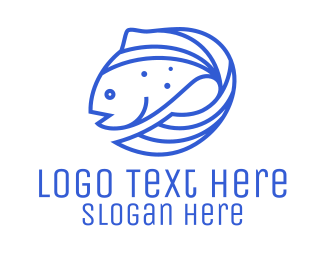 Pisces - Blue Fish Seafood logo design