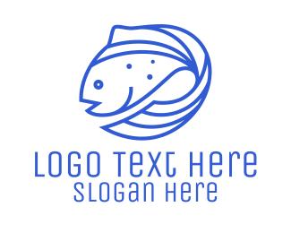 Swimming - Blue Fish Seafood logo design