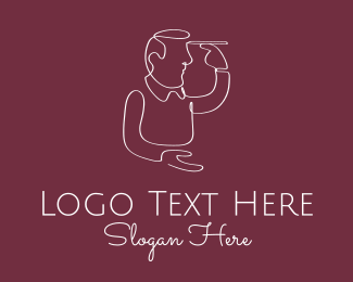 Sketching - Human Draw Monoline logo design