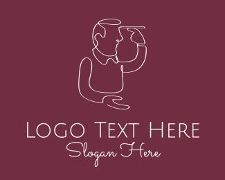 Hair Product - Human Draw Monoline logo design