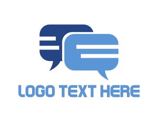 Speak - Blue Chat logo design