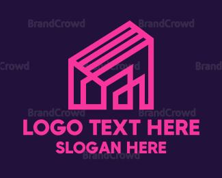 Design - Pink House Outline  logo design