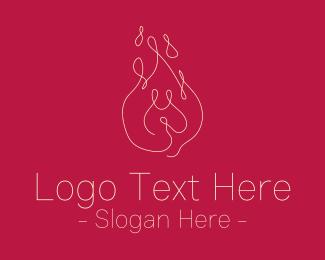 Fire - Monoline Fire Drawing logo design