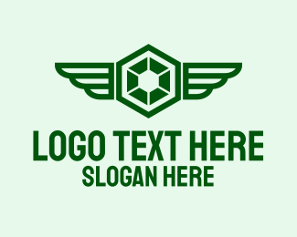 Militia - Green Hexagon Wings logo design