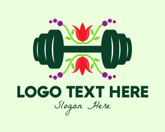 Weight Lifting - Natural Eco Barbell logo design