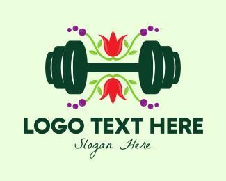 Weightlifter - Natural Eco Barbell logo design