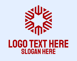 Advertising Agency - Red Hexagon Star  logo design