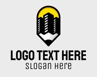 Grade School - Pencil Buildings logo design