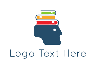 Learn - Head & Books logo design