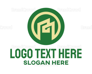 Decoration - Green Abstract House M logo design