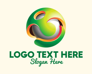 Golf Ball - 3D Colorful Sphere logo design