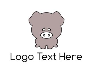 Pork - Grey Piglet logo design