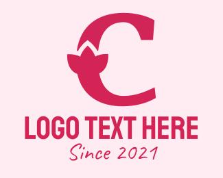 Naturalist - Pink Letter C Flower  logo design