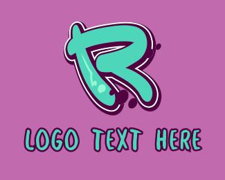 Mural - Modern Graffiti Letter R logo design
