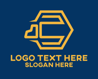 Trucking Company - Yellow Cargo Truck logo design