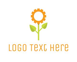 Dandelion - Gear Flower logo design