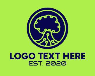 Web Hosting - Green Tech Tree  logo design