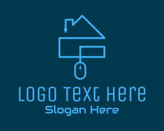 Work From Home - Blue Cyber House logo design