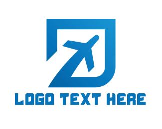 Aeroplane - Blue Square Travel logo design