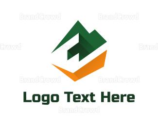 3d - Mountain 3D Letter E logo design