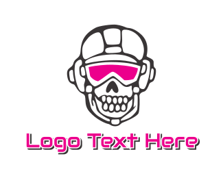 Dj - Pink Goggle Skull logo design