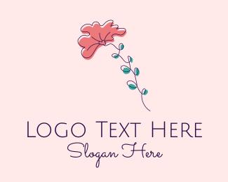 Wild Flower - Minimalist Fan Flower  logo design