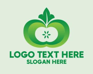 Eating - Shiny Green Fruit logo design