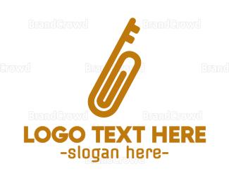 Key - Gold Key Clip logo design