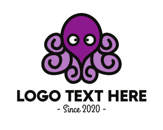 Abyss - Purple Cute Octopus logo design