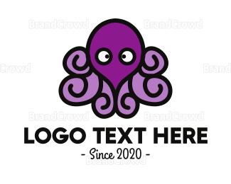 Aquarium - Purple Cute Octopus logo design