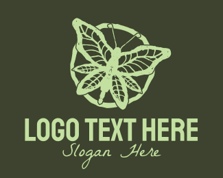Hemp Extract - Rustic Green Leaf Butterfly logo design