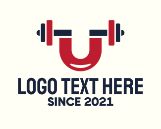Powerlifter - Magnet Fitness Gym Letter U logo design