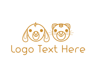 Cat And Dog - Cute Golden Pets logo design