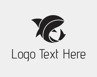 Shark - Black Abstract Shark logo design